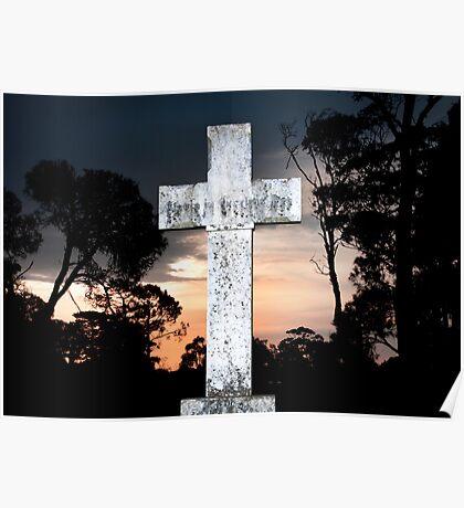 White cross at sunset Poster