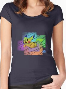 Springing Pikachu Women's Fitted Scoop T-Shirt
