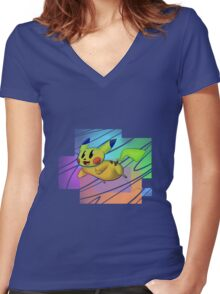 Springing Pikachu Women's Fitted V-Neck T-Shirt