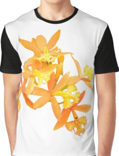 Yellow / Orange Orchids Floral Print Graphic T-Shirt