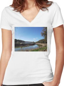 Channel-side Walking Track Women's Fitted V-Neck T-Shirt