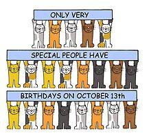 Cats celebrating birthdays on October 13th. by KateTaylor