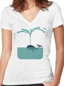 Cute whale Women's Fitted V-Neck T-Shirt