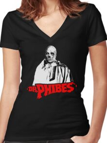 Dr. Phibes Women's Fitted V-Neck T-Shirt