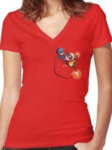 Pocket War Women's Fitted V-Neck T-Shirt