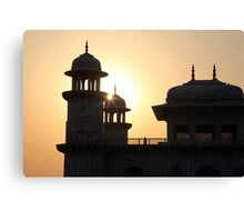 A Sunset Silhouette at the Itmad-ud-Daulah Mausoleum, Agra. Canvas Print
