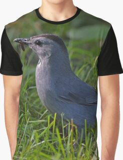 Dumetella Carolinensis - Gray Catbird With A Worm In Beak  | Center Moriches, New York Graphic T-Shirt