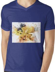Yellow Orchid Watercolour Flower Mens V-Neck T-Shirt