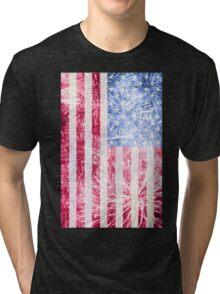 4th of July - American Firework Flag Tri-blend T-Shirt