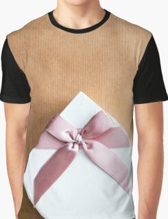 White Gift Box With Pink Bow on Brown Paper Graphic T-Shirt