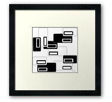 Retro Rectangles Mono Framed Print