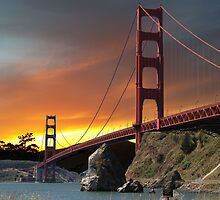Golden Gate Bridge Sunset by JADonnelly