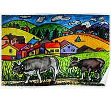 A folksy Cow Hike Poster