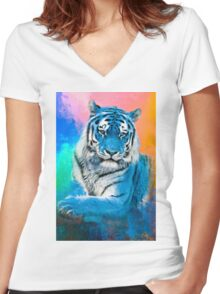 Blue Tiger Women's Fitted V-Neck T-Shirt