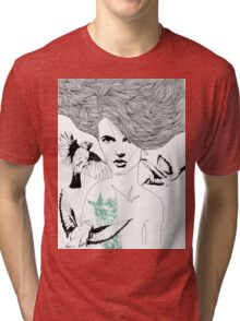 Birdie - Fineliner Illustration Tri-blend T-Shirt