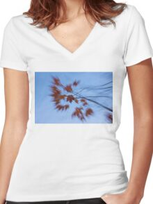 Abstract Impressions of Fall - Autumn Wind Melody Women's Fitted V-Neck T-Shirt