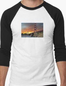 Golden Gate Bridge Sunset Men's Baseball ¾ T-Shirt