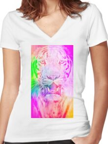 Tiger pink Women's Fitted V-Neck T-Shirt