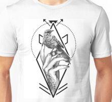 Bird In The Tattooed Hand (White) Unisex T-Shirt