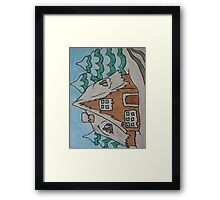 Abstract Cottage House with Trees Framed Print