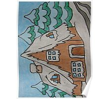 Abstract Cottage House with Trees Poster