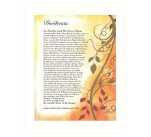 desiderata poem, golden autumn swirls Art Print