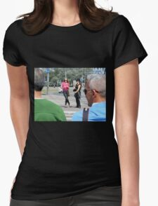 Waiting to Cross Womens Fitted T-Shirt