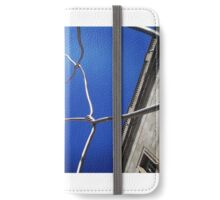 Twisted metal Sculpture in the Gothic Quarter of Barcelona iPhone Wallet/Case/Skin
