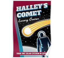 Halley's Comet Retro Space Travel Illustration Poster