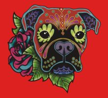Boxer in Fawn - Day of the Dead Sugar Skull Dog One Piece - Long Sleeve