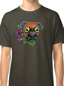 Boxer in Fawn - Day of the Dead Sugar Skull Dog Classic T-Shirt