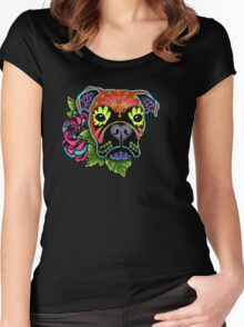 Boxer in Fawn - Day of the Dead Sugar Skull Dog Women's Fitted Scoop T-Shirt