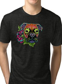 Boxer in Fawn - Day of the Dead Sugar Skull Dog Tri-blend T-Shirt