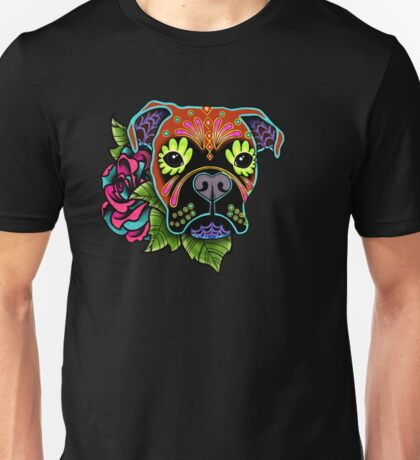 Boxer in Fawn - Day of the Dead Sugar Skull Dog Unisex T-Shirt