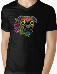 Boxer in Fawn - Day of the Dead Sugar Skull Dog Mens V-Neck T-Shirt