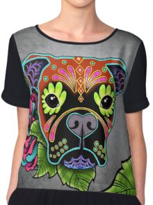 Boxer in Fawn - Day of the Dead Sugar Skull Dog Chiffon Top