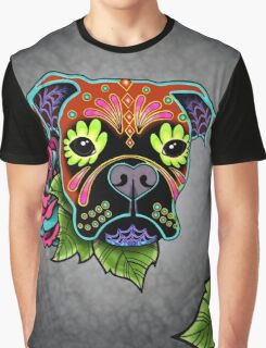 Boxer in Fawn - Day of the Dead Sugar Skull Dog Graphic T-Shirt