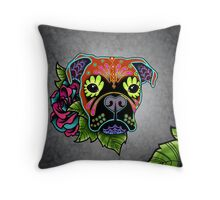 Boxer in Fawn - Day of the Dead Sugar Skull Dog Throw Pillow