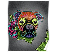 Boxer in Fawn - Day of the Dead Sugar Skull Dog Poster