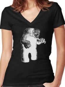 The Lurking Golem Women's Fitted V-Neck T-Shirt