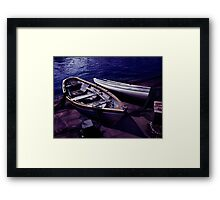 Old wooden boats at night art photo print Framed Print