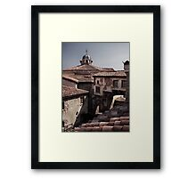 Rooftops of old houses in Venetian town art photo print Framed Print