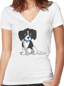 English Springer Spaniel Puppy Women's Fitted V-Neck T-Shirt