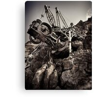 Steampunk land boring machine at Disneysea black and white art photo print Canvas Print