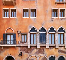 Venetian building wall with windows architectural texture art photo print by ArtNudePhotos