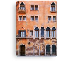 Venetian building wall with windows architectural texture art photo print Canvas Print