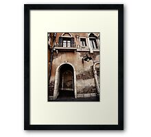 Arched passage in old rustic Venetian house art photo print Framed Print