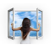 Woman opening window with view on sea art photo print Photographic Print