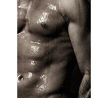 Man bare torso wet under shower art photo print Photographic Print