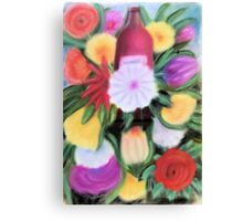 Flowers with Bottle Canvas Print
